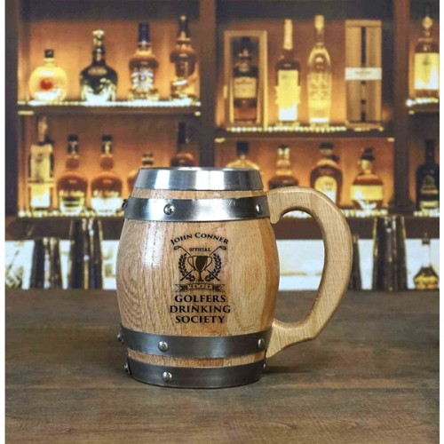 Golfers Drinking Society Personalized Barrel Mug
