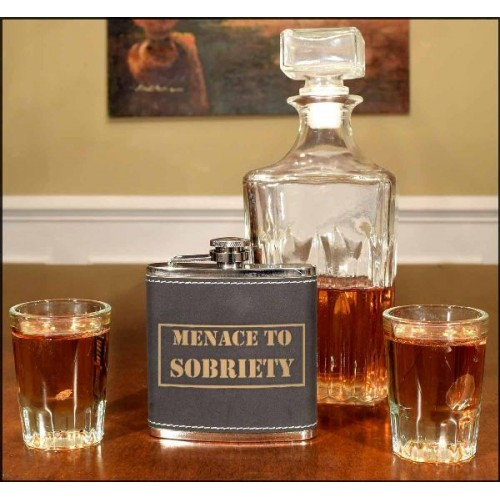 Menace To Sobriety 6oz Black Leather Flask Non Personalized