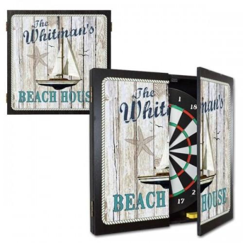Personalized Beach House Dartboard & Cabinet Set