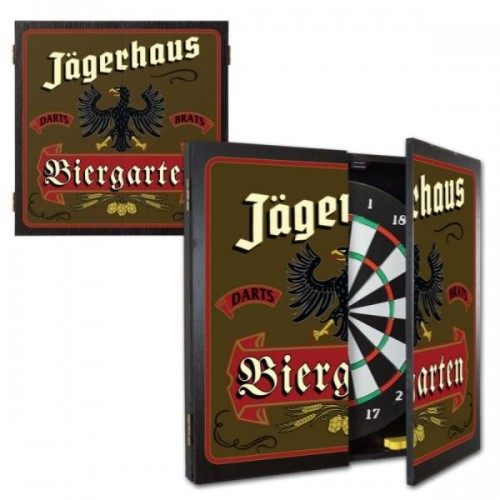 Personalized Biergarten Dartboard & Cabinet Set