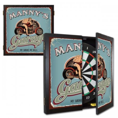 Personalized Biker Chick Garage Dartboard & Cabinet Set