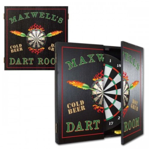 Personalized Flaming Darts Dart Room Dartboard & Cabinet Set
