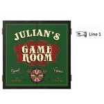 Personalized Game Room Dartboard & Cabinet Set