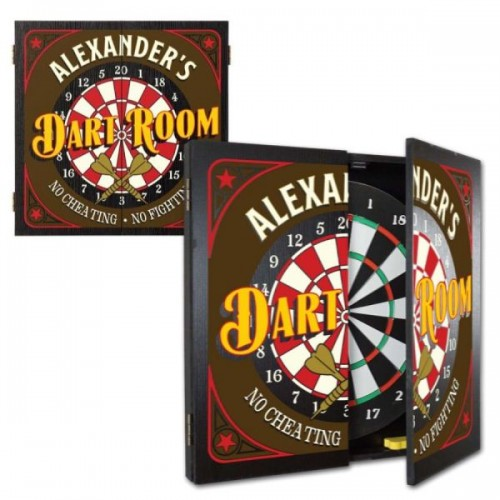 Personalized No Cheating Dart Room Dartboard & Cabinet Set