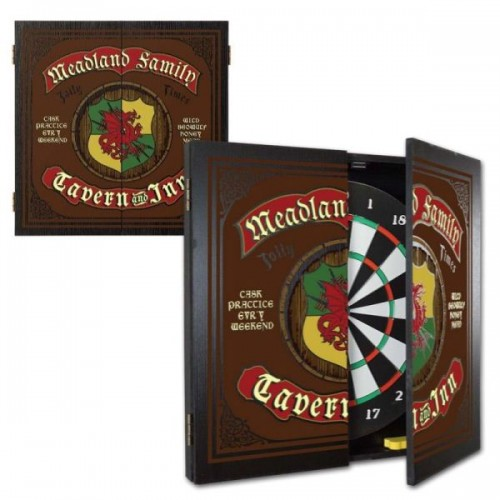 Personalized Tavern Inn Dartboard & Cabinet Set