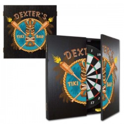 Personalized Tiki Bar Dartboard & Cabinet Set