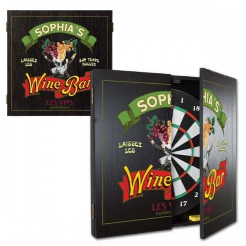 Personalized Wine Bar Dartboard & Cabinet Set
