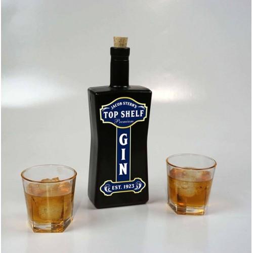 Top Shelf Black Glass Bottle