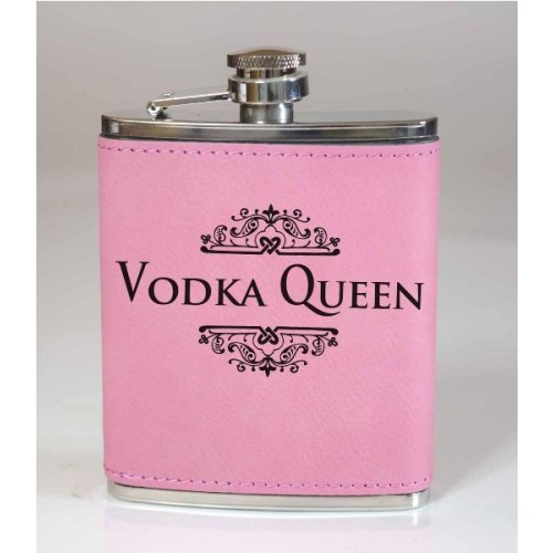 Vodka Queen 6oz Pink Leather Flask