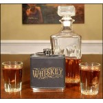 Whiskey 6oz Black Leather Flask Non Personalized