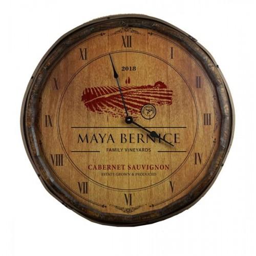 Wine Label Quarter Barrel Clock