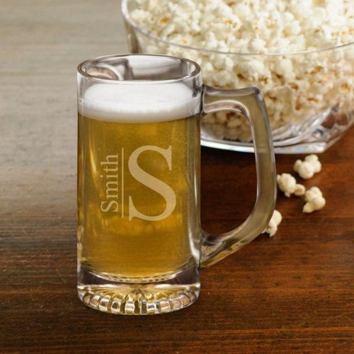 12 oz Beer Mugs/Sports Mug - Monogram