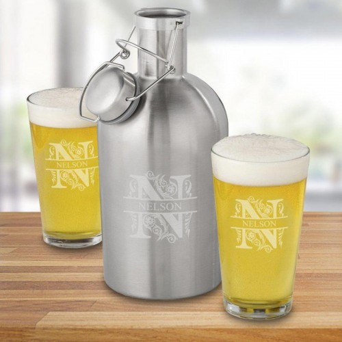 65 oz. Stainless Steel Personalized Growler Set with 2 Pub Glasses