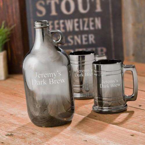 Craft Beer Personalized Gunmetal Growler and Beer Mug Set