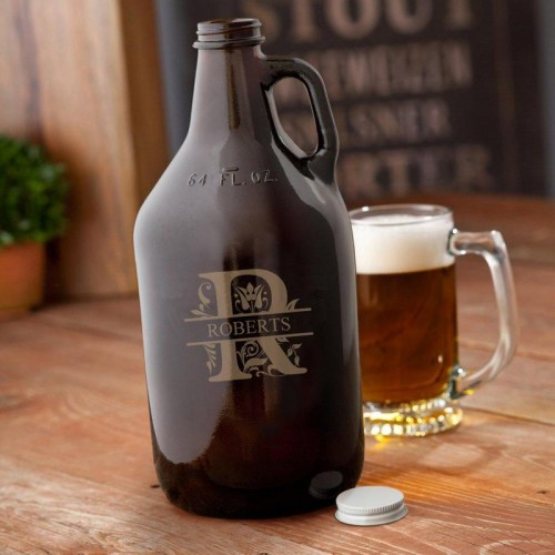 Monogram Amber Glass Growler - 64 oz.