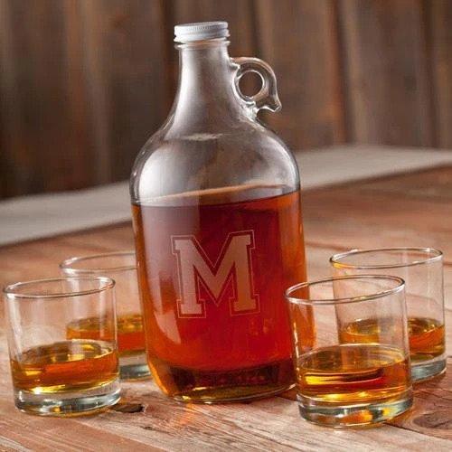 Monogramed Whiskey Growler Set