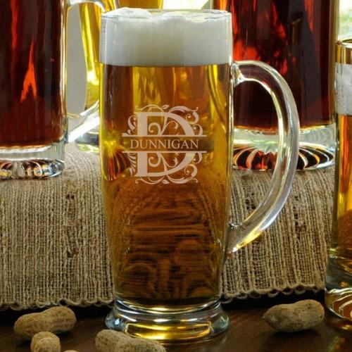 Personalized Slim 18 oz Beer Mugs - Monogram