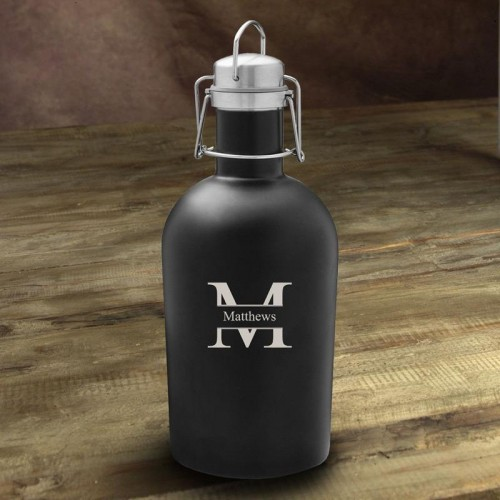 Personalized Matte Black Beer Growler - 64oz.