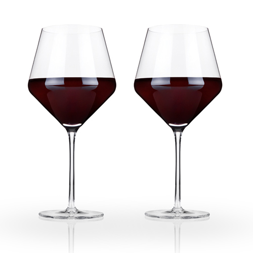 Angled Crystal Burgundy Glasses by Viski®