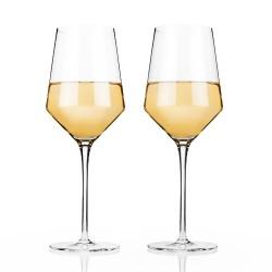 Angled Crystal Chardonnay Glasses by Viski®