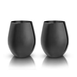 Gunmetal Stemless Wine Glasses by Viski®