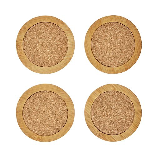 Round Bamboo & Cork Coasters by Twine®