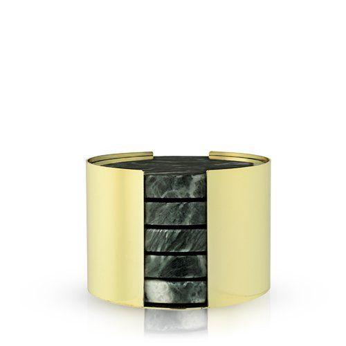 Set of 4 Emerald & Gold Coasters by Viski®
