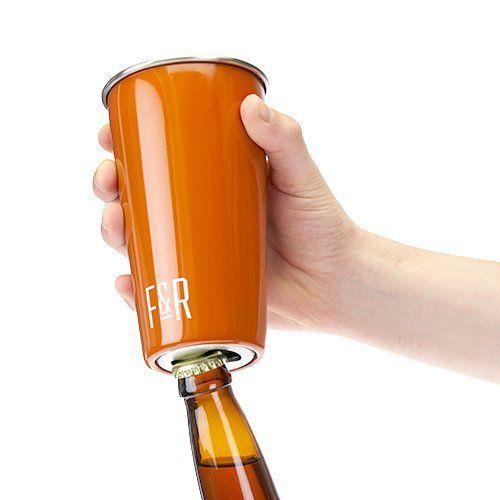 Bottle Opening Pint Cup Set - Orange